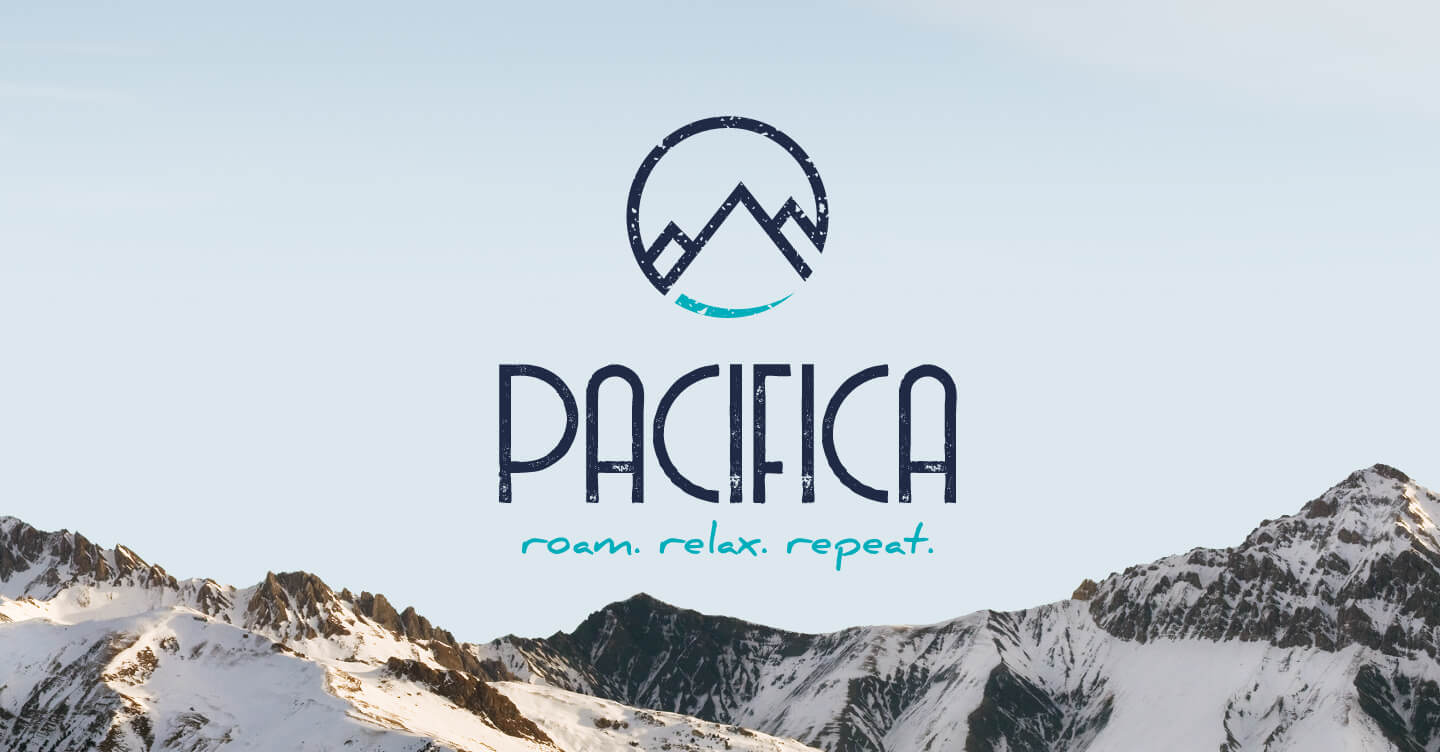 Pacifica logo over mountain range